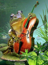 Load image into Gallery viewer, Diamond Painting | Diamond Painting - Frog and Violin | animals Diamond Painting Animals frogs | FiguredArt
