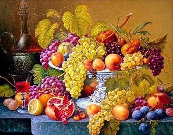 Diamond Painting | Diamond Painting - Fruit basket | Diamond Painting Flowers flowers | FiguredArt