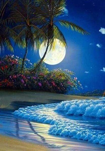 Diamond Painting | Diamond Painting - Full beachfront Moon | Diamond Painting Romance romance | FiguredArt