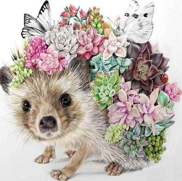 Diamond Painting | Diamond Painting - Hedgehog and Flowers | animals Diamond Painting Animals flowers hedgehogs | FiguredArt