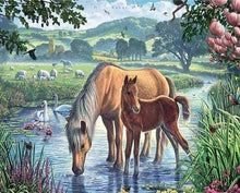 Load image into Gallery viewer, Diamond Painting | Diamond Painting - Horses and Creek | animals Diamond Painting Animals horses | FiguredArt
