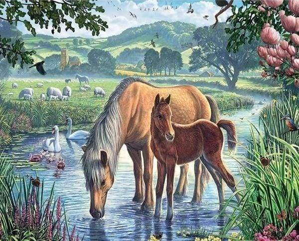 Diamond Painting | Diamond Painting - Horses and Creek | animals Diamond Painting Animals horses | FiguredArt