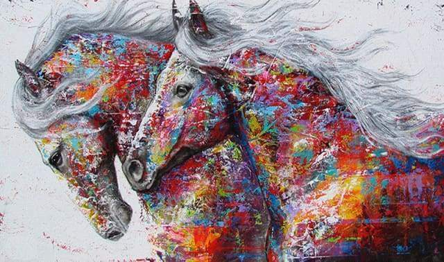 Diamond Painting | Diamond Painting - Horses Couple | Diamond Painting Landscapes horses landscapes | FiguredArt