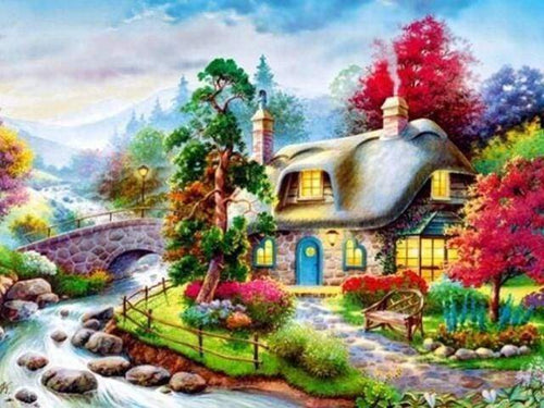 Diamond Painting | Diamond Painting - House near small River | Diamond Painting Landscapes landscapes | FiguredArt