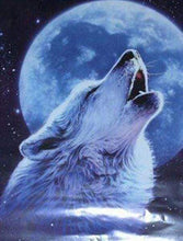 Load image into Gallery viewer, Diamond Painting | Diamond Painting - Howling Wolf and Full Moon | animals Diamond Painting Animals rabbits wolves | FiguredArt
