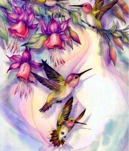Diamond Painting | Diamond Painting - Hummingbirds in Flight | animals Diamond Painting Animals | FiguredArt