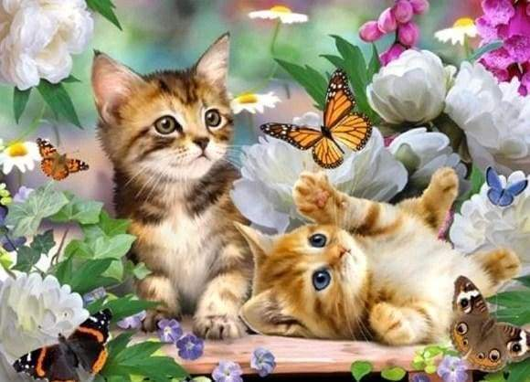 Diamond Painting | Diamond Painting - Kittens and Butterflies | animals butterflies cats Diamond Painting Animals | FiguredArt