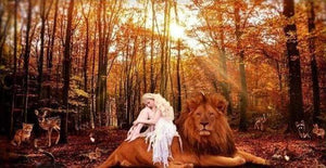 Diamond Painting | Diamond Painting - Lady and the Lion | animals Diamond Painting Animals lions | FiguredArt