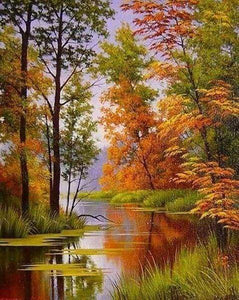Diamond Painting | Diamond Painting - Lake in Autumn | Diamond Painting Landscapes landscapes | FiguredArt