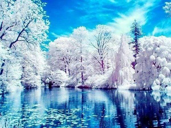 Diamond Painting | Diamond Painting - Lake in Winter | Diamond Painting Landscapes landscapes winter | FiguredArt