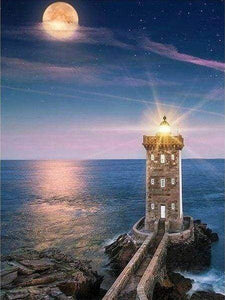 Diamond Painting | Diamond Painting - Lighthouse and Full Moon | Diamond Painting Landscapes landscapes | FiguredArt