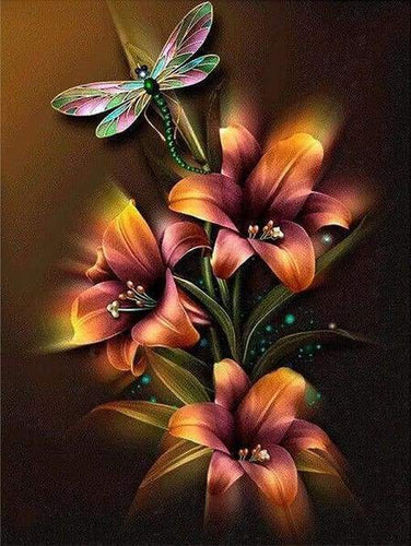Diamond Painting | Diamond Painting - Lily and Dragonfly | animals Diamond Painting Animals Diamond Painting Flowers flowers | FiguredArt