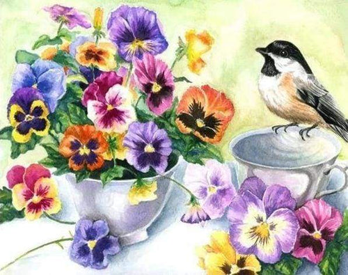 Diamond Painting | Diamond Painting - Little Bird and Cup of Flowers | animals birds Diamond Painting Animals Diamond Painting Flowers