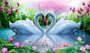 Diamond Painting | Diamond Painting - Love Swans | animals birds Diamond Painting Animals swans | FiguredArt
