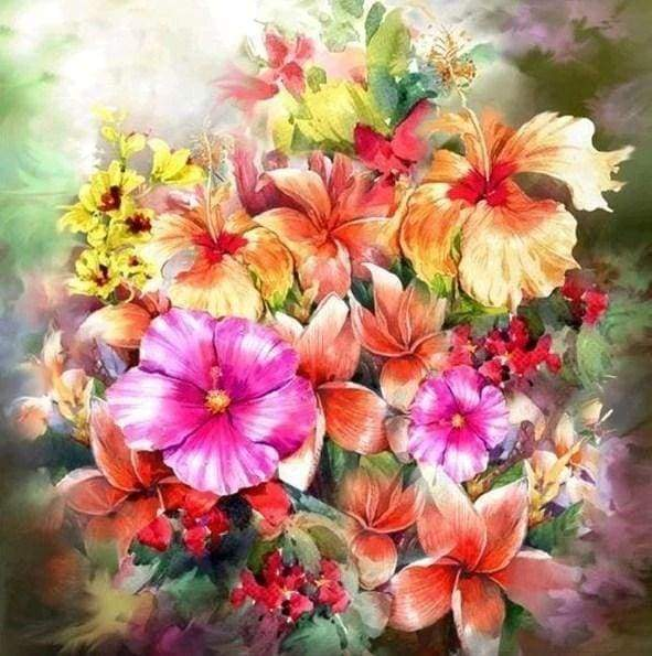 Diamond Painting | Diamond Painting - Multi Color Flowers | Diamond Painting Flowers flowers | FiguredArt