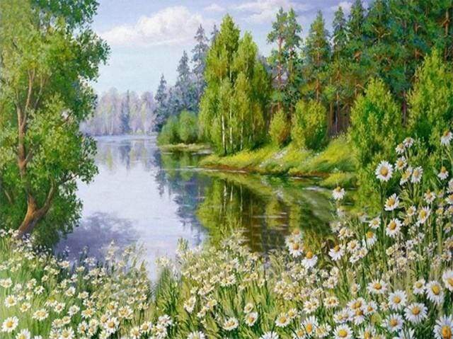 Diamond Painting | Diamond Painting - Near the Lake | Diamond Painting Landscapes landscapes | FiguredArt