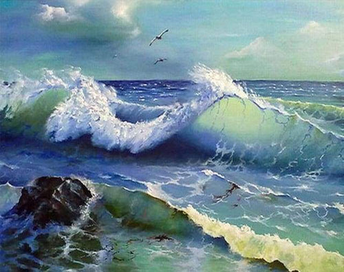 Diamond Painting | Diamond Painting - Ocean Waves | Diamond Painting Landscapes landscapes | FiguredArt