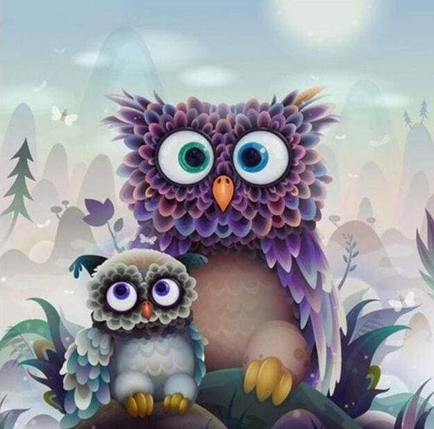 Diamond Painting | Diamond Painting - Owl and Baby | animals Diamond Painting Animals owls | FiguredArt