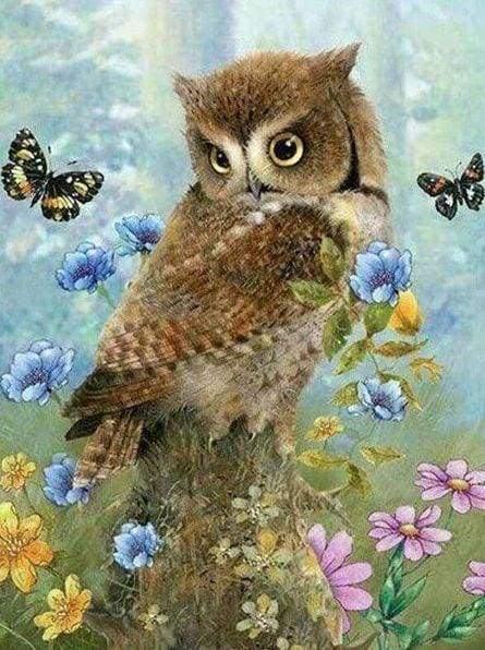 Diamond Painting | Diamond Painting - Owl and Butterflies | animals butterflies Diamond Painting Animals owls | FiguredArt