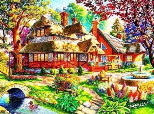 Diamond Painting | Diamond Painting - Peaceful House | Diamond Painting Landscapes landscapes | FiguredArt