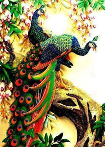 Diamond Painting | Diamond Painting - Peacocks on branches | Diamond Painting Flowers flowers peacocks | FiguredArt
