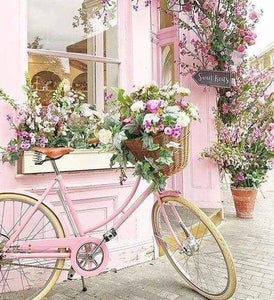 Diamond Painting | Diamond Painting - Pink Bicycle | cities Diamond Painting Cities | FiguredArt
