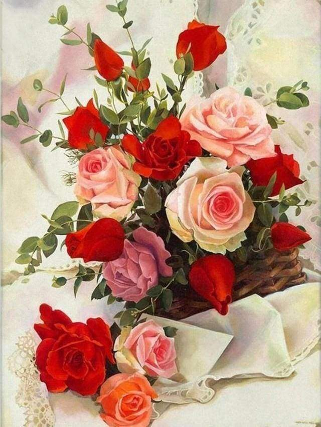 Diamond Painting | Diamond Painting - Pretty Roses | Diamond Painting Flowers flowers | FiguredArt