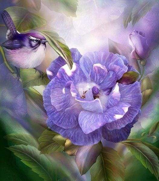 Diamond Painting | Diamond Painting - Purple Flower and Bird | animals birds Diamond Painting Animals Diamond Painting Flowers flowers |