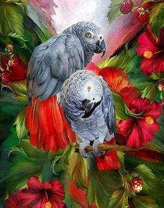 Diamond Painting | Diamond Painting - Red and Gray Parrots | animals birds Diamond Painting Animals parrots | FiguredArt