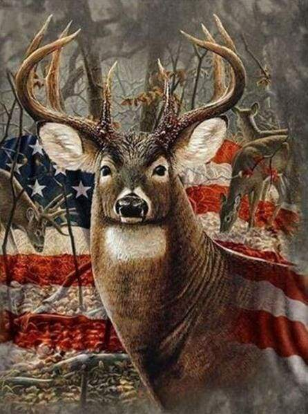 Diamond Painting | Diamond Painting - Reindeer and American Flag | animals deer Diamond Painting Animals | FiguredArt