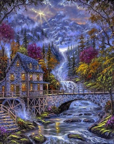 Diamond Painting | Diamond Painting - River at Night | Diamond Painting Landscapes landscapes | FiguredArt