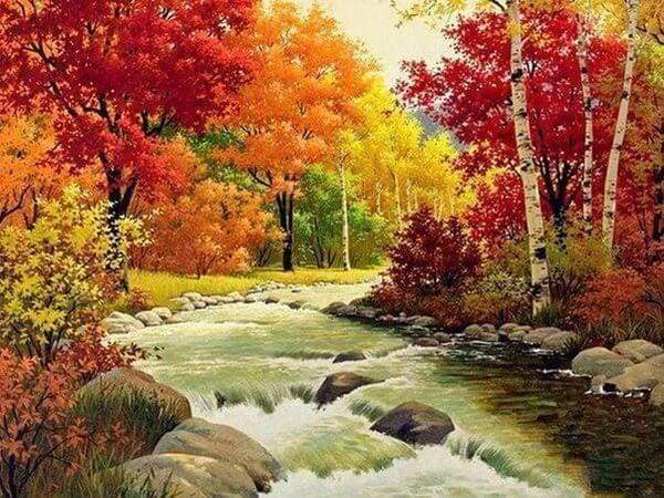 Diamond Painting | Diamond Painting - River in Autumn | Diamond Painting Landscapes landscapes | FiguredArt