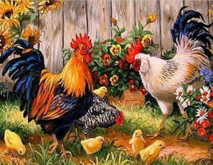 Diamond Painting | Diamond Painting - Roosters farm | animals Diamond Painting Animals | FiguredArt