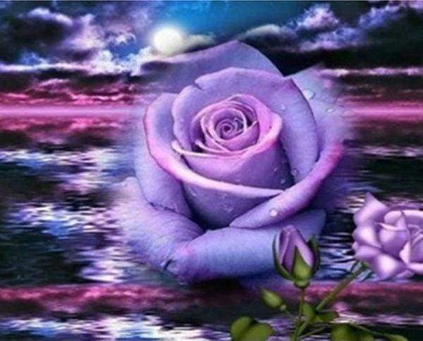 Diamond Painting | Diamond Painting - Rose and Sea | Diamond Painting Flowers flowers | FiguredArt