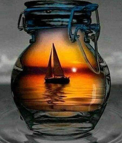 Diamond Painting | Diamond Painting - Sailboat and Vase | Diamond Painting Ships ships | FiguredArt