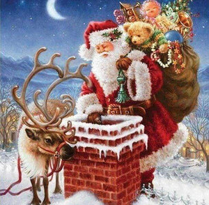 Diamond Painting | Diamond Painting - Santa Claus near Chimney | christmas Diamond Painting Religion religion | FiguredArt