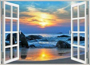 Diamond Painting | Diamond Painting - Sea View Window | Diamond Painting Landscapes landscapes | FiguredArt