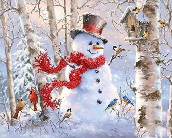 Diamond Painting | Diamond Painting - Snowman in the Forest | Diamond Painting Landscapes landscapes winter | FiguredArt
