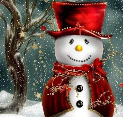 Diamond Painting | Diamond Painting - Snowman smiling | Diamond Painting Landscapes landscapes winter | FiguredArt