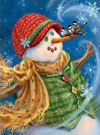 Diamond Painting | Diamond Painting - Snowman with green jacket | Diamond Painting Landscapes landscapes winter | FiguredArt