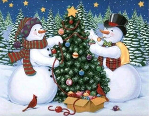 Diamond Painting | Diamond Painting - Snowmen and Christmas tree | animals christmas Diamond Painting Animals winter | FiguredArt