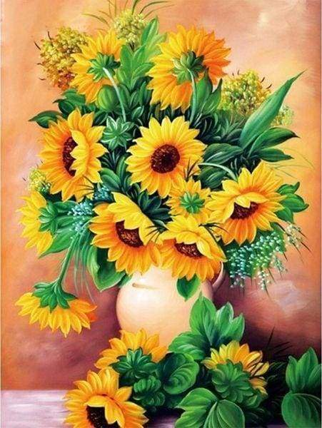 Diamond Painting | Diamond Painting - Sunflowers Vase | Diamond Painting Flowers flowers | FiguredArt