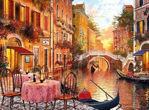 Diamond Painting | Diamond Painting - Table near the Canal | cities Diamond Painting Cities | FiguredArt