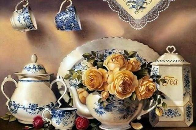 Diamond Painting | Diamond Painting - Tea Service | Diamond Painting kitchen kitchen | FiguredArt