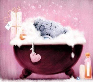 Diamond Painting | Diamond Painting - Teddy in his bath | Diamond Painting Romance romance | FiguredArt