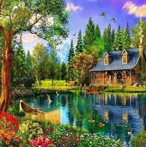 Diamond Painting | Diamond Painting - The Lake House | Diamond Painting Landscapes landscapes | FiguredArt