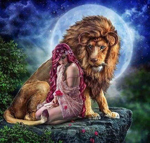 Diamond Painting | Diamond Painting - The Lion and the Woman | animals Diamond Painting Animals lions | FiguredArt
