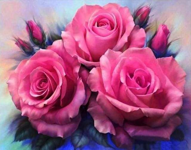 Diamond Painting | Diamond Painting - Three Roses blooming | animals Diamond Painting Animals | FiguredArt