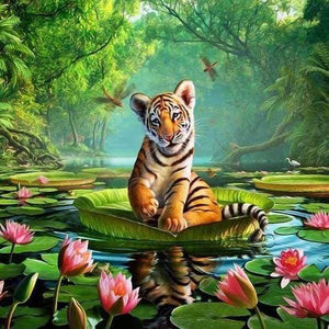 Diamond Painting | Diamond Painting - Tiger on Water | animals Diamond Painting Animals tigers | FiguredArt