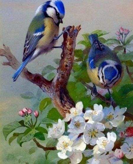 Diamond Painting | Diamond Painting - Tits on branch | Diamond Painting Flowers flowers | FiguredArt